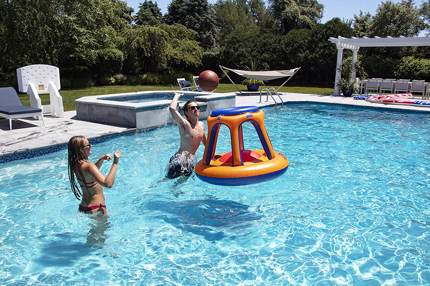 Swimline 90285 Giant Shootball Floating Pool Basketball Game, 1-Pack, Orange/Blue