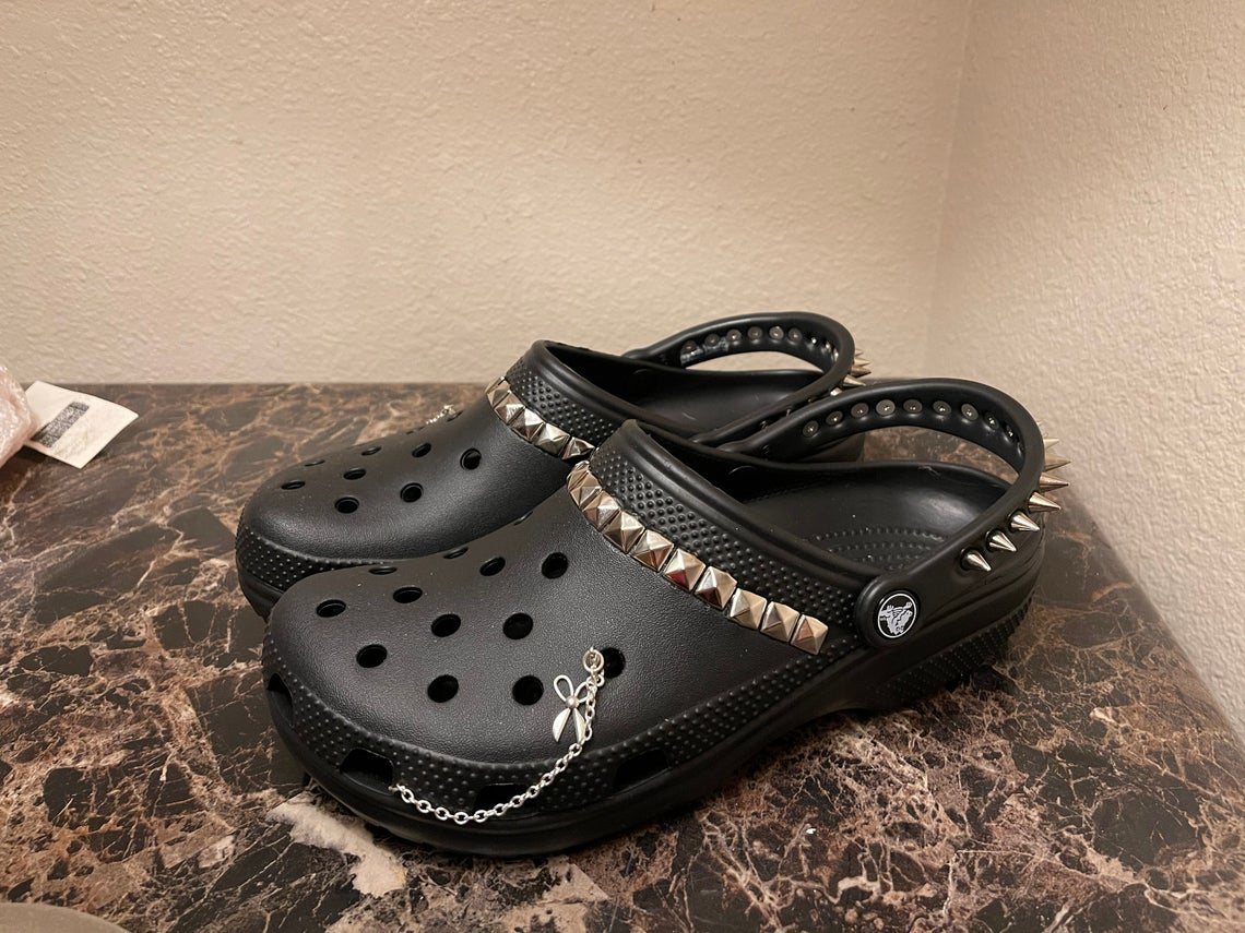 Women's Grunge Punk Spikey Crocs With Studs