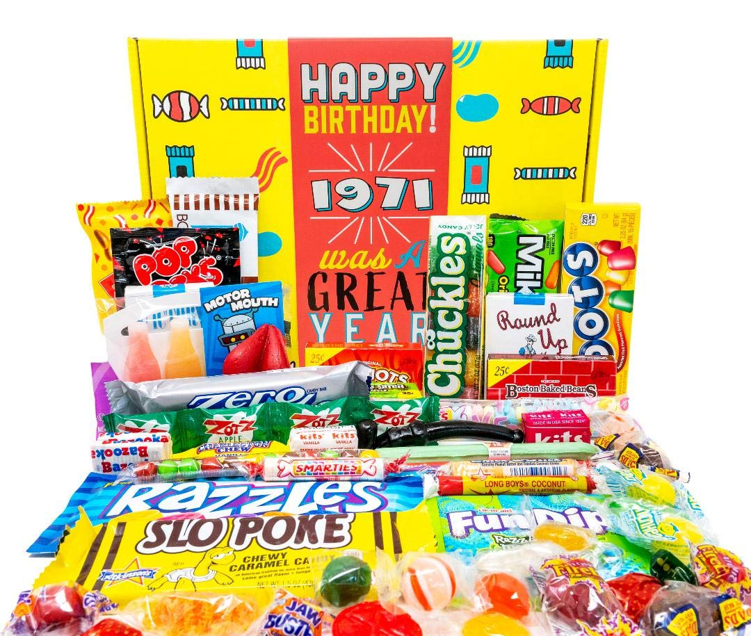 Woodstock Candy ~ 1971 50th Birthday Gifts for 50 Year Old Women and Men ~ Retro Decade Candy Box Assortment Basket from Childhood Born 1971
