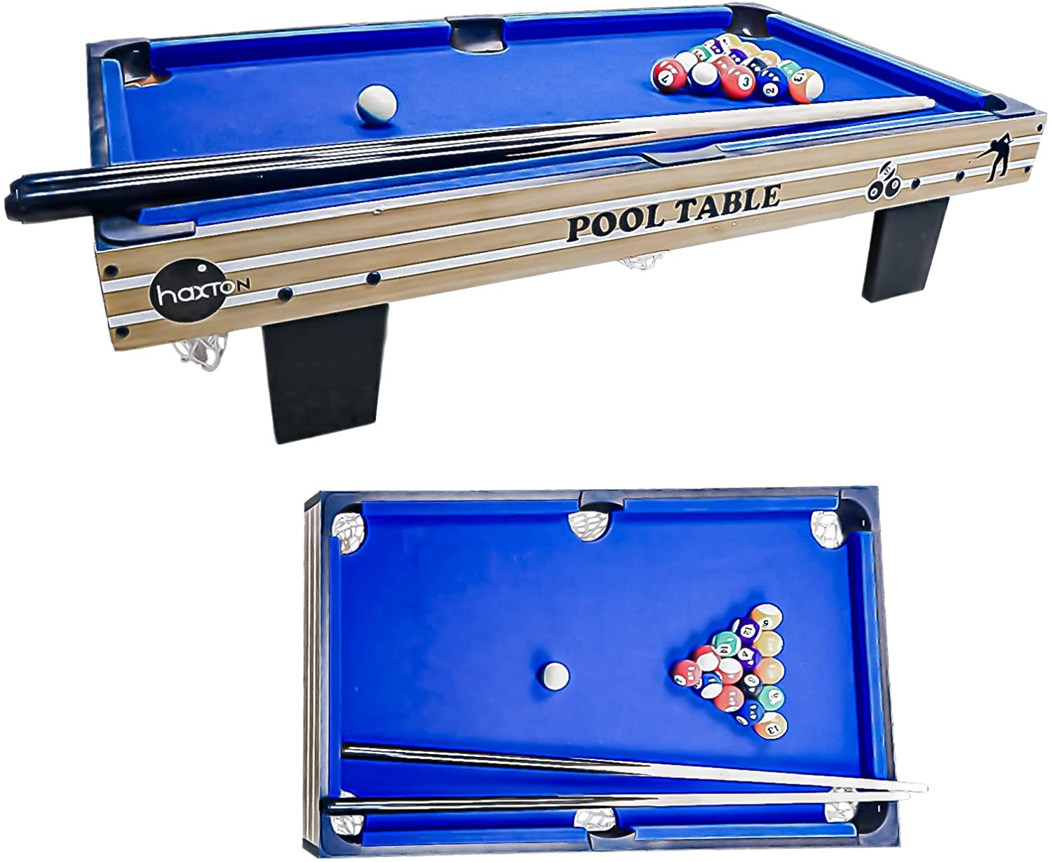 "haxTON Tabletop Pool Table Set, Mini Pool Table,36""x20""x3.14"", Travel-Size Billiard Tables, Game Table, Pool Games, Cues, and Rack, Balls"