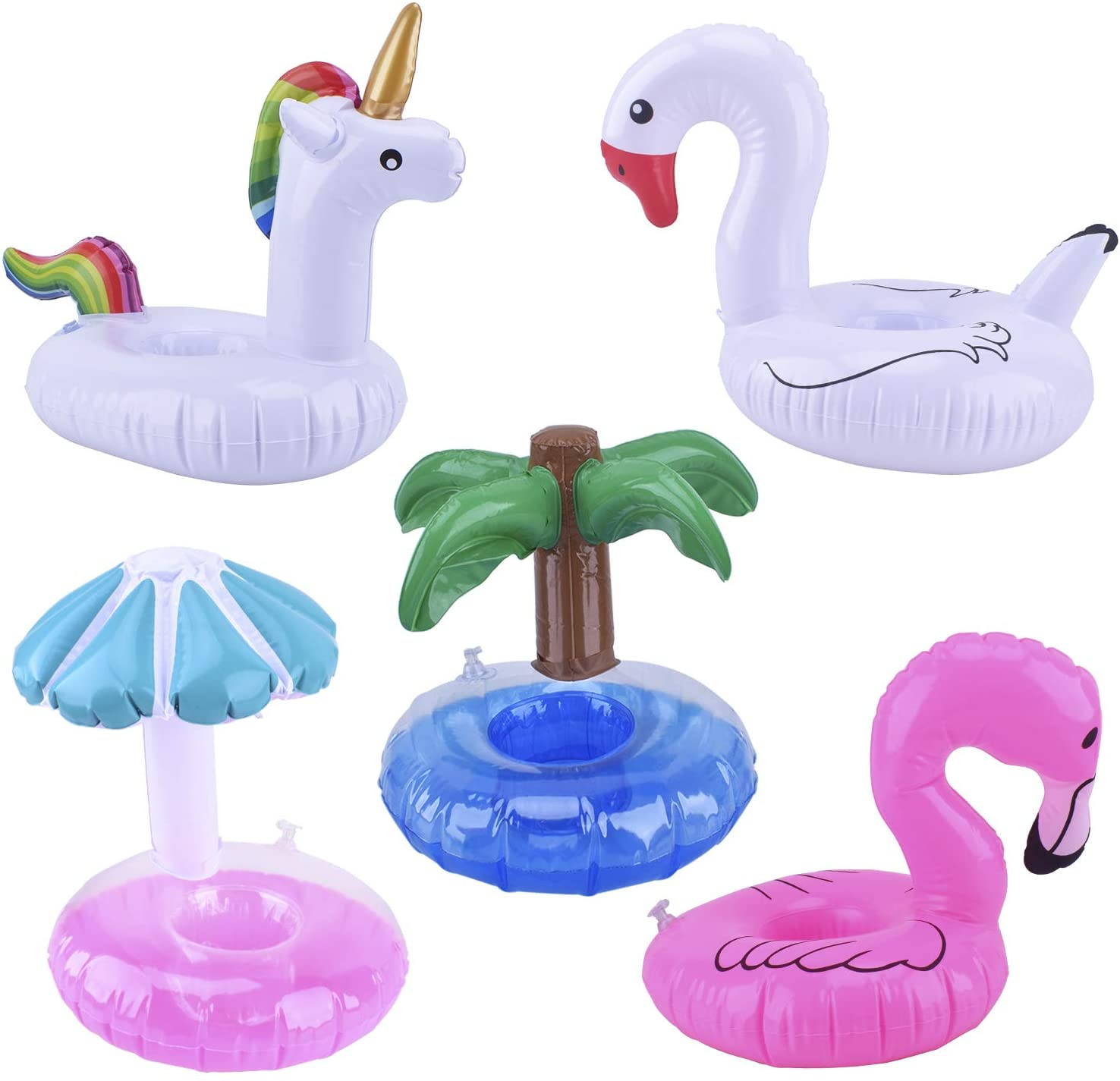 Blovec 5 Pack Inflatable Drink Holders Inflatable Cup Coasters Drink Floats Swimming Drink Holder Unicorn Flamingo Palm Tree Mushroom Swan for Pool Party (Colorful)