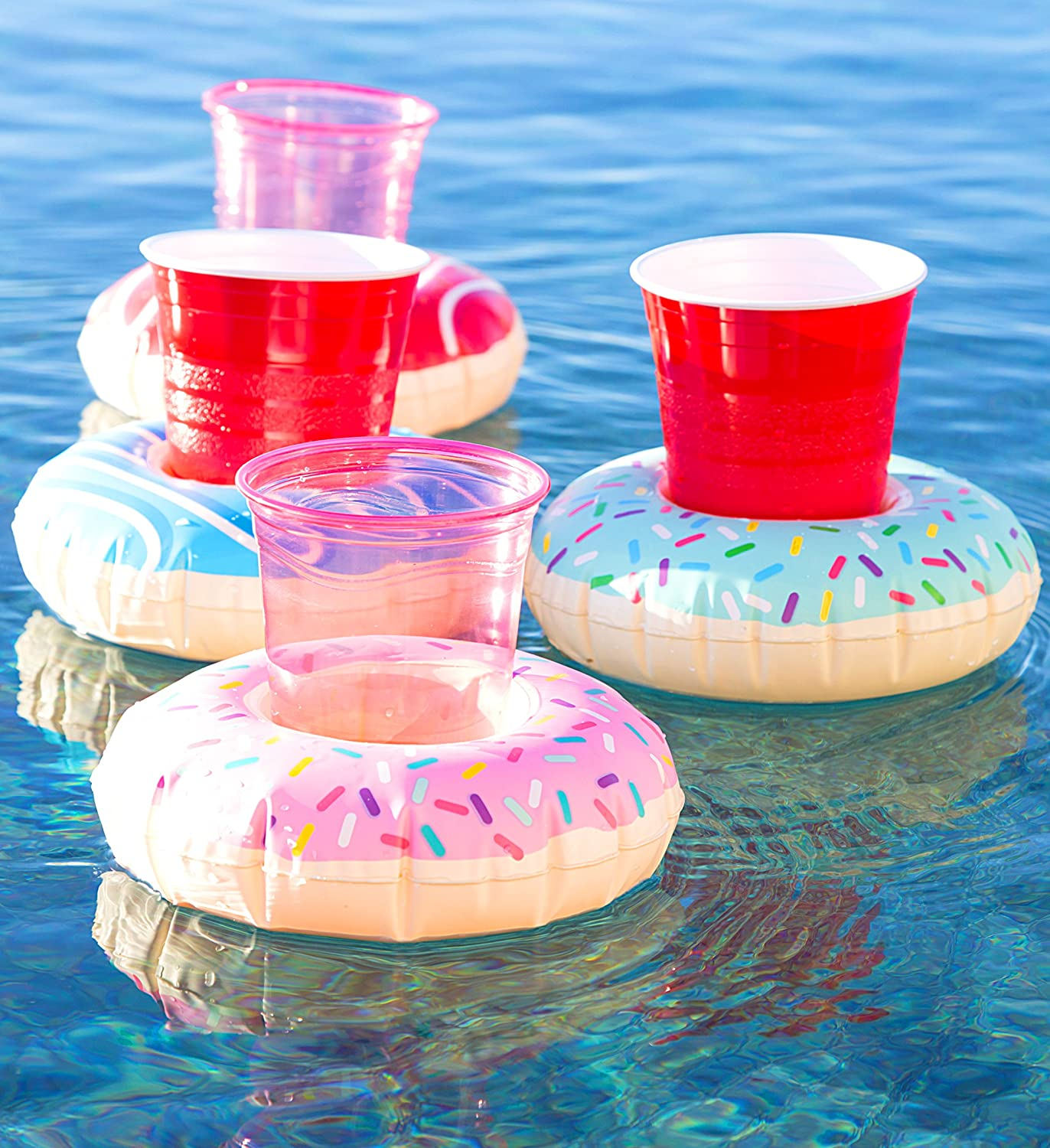CoTa Global Pool Party – Funny Delectable Frosted Donut Inspired Inflatable Ring Drink Holder - Set of 4 - for The Beach, Pool Party - Heavy Duty - UV...