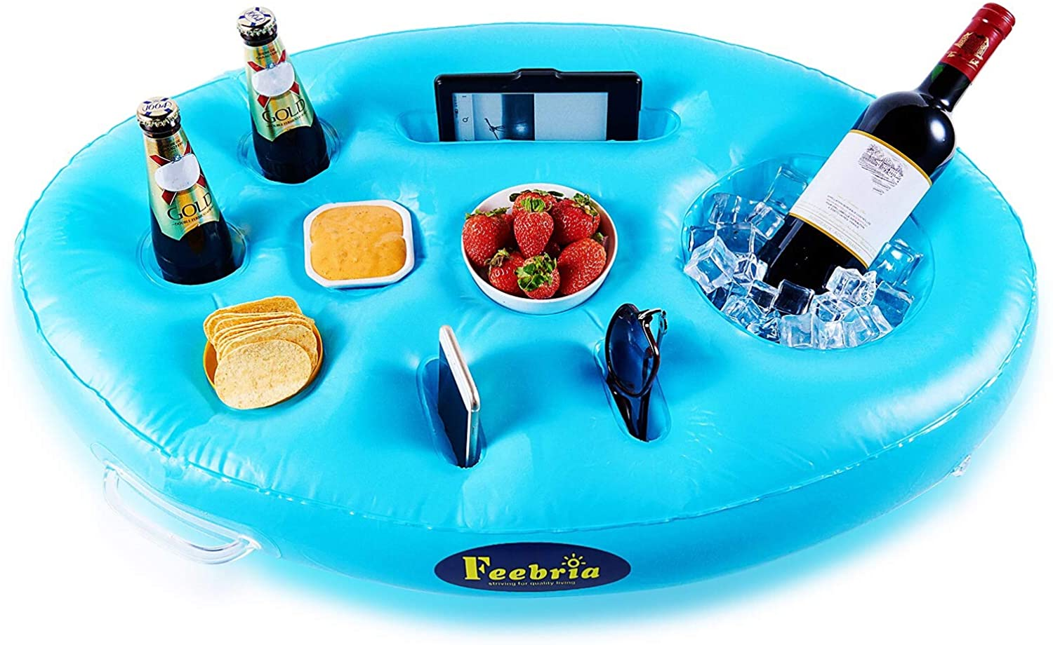 FEEBRIA Inflatable Floating Drink Holder with 9 Holes Large Capacity Drink Float for Pool Party Beach (Blue)