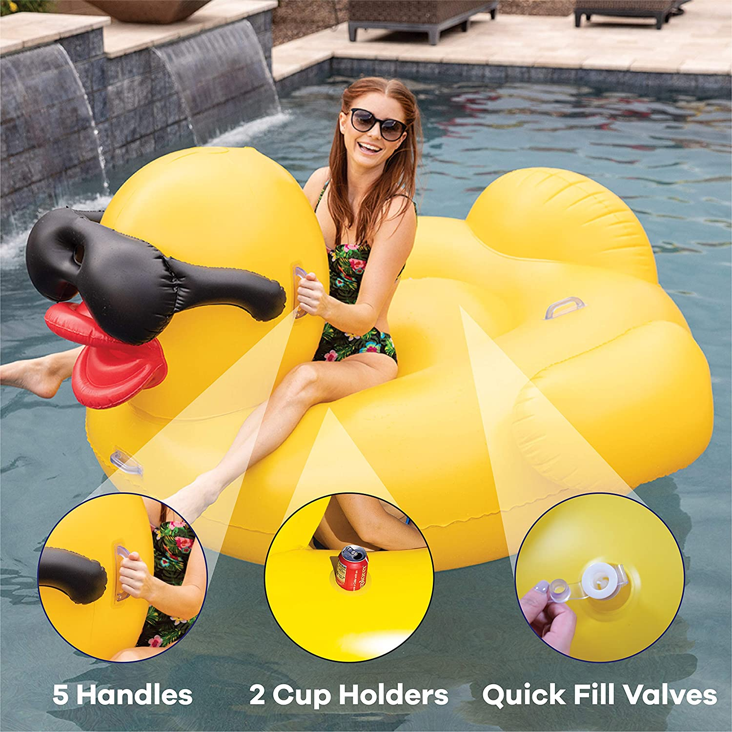 """GAME 5007 Giant Derby Duck with Pump Inflatable Pool Float, Quick-Fill Valves, Built-in Cup Holders, 300-Pound Capacity, 72"""" L x 66"""" W x 36"""", Yellow"""