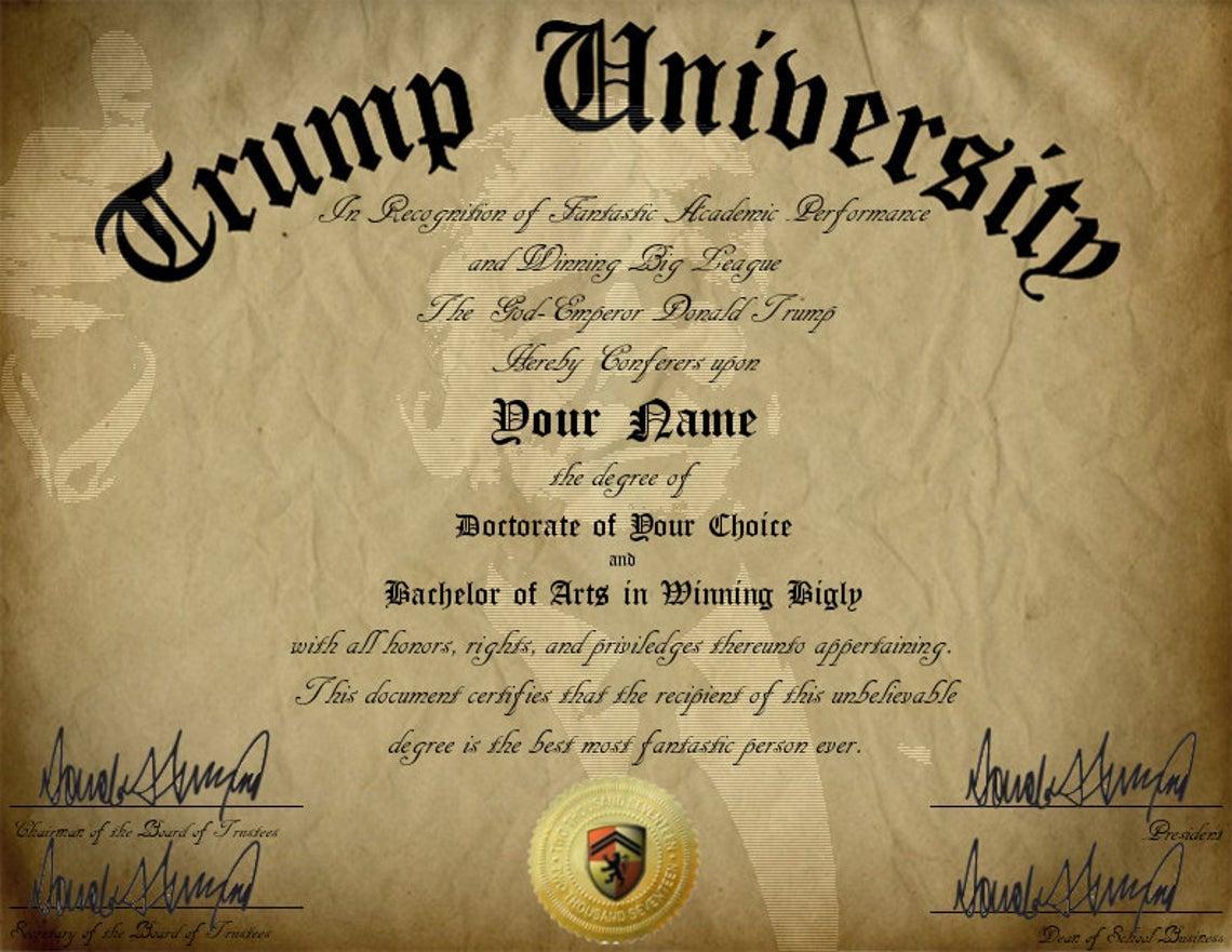 Gag Gift Trump University Customizable Diploma