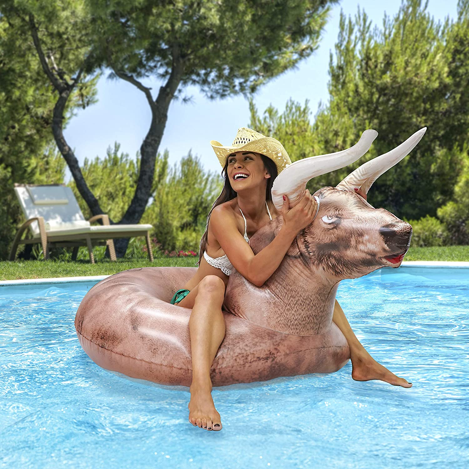 GoFloats Inflatable Buckin' Bull Pool Float Party Tube - Grab Summer by The Horns