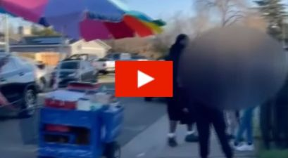 Rude Customers Harass Poor Street Vendor by Knocking Her Cart Over