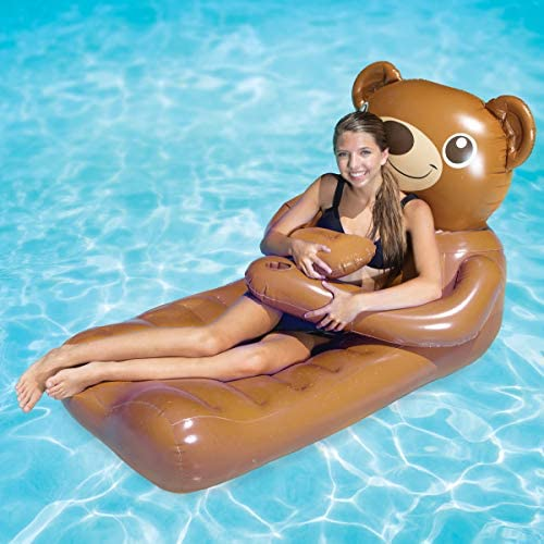 SwimWays Huggables Teddy Bear Oversized Float - Inflatable Lounge with Cupholder for Pool or Lake