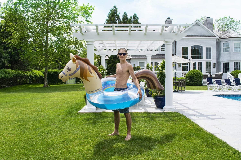 "Swimline Hobby Horse Glitter Inflatable Pool Ring, Multi, 67""x 37"" x 31"""