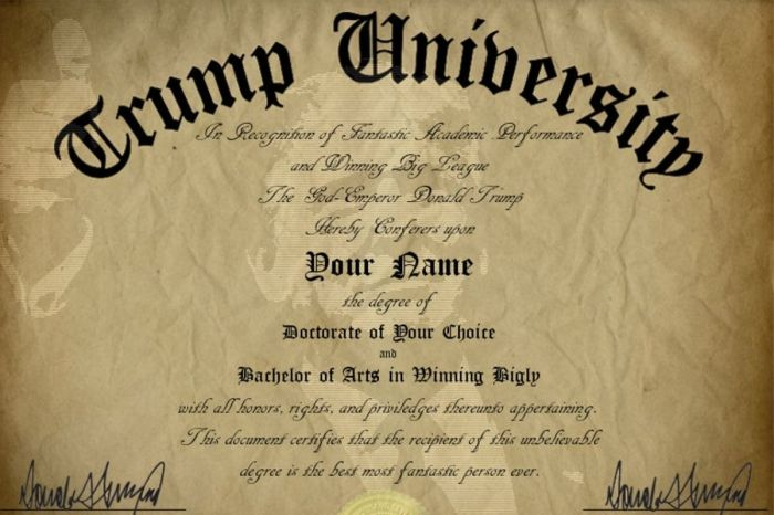 $5 Trump University Diploma Is the Ultimate Gag Gift for Republicans