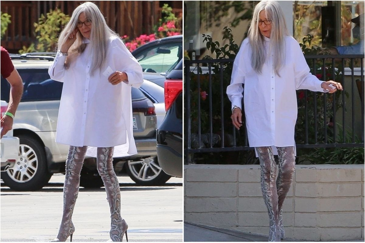 75-Year-Old Diane Keaton Looks Hot as Hell in Thigh-High Snakeskin Boots