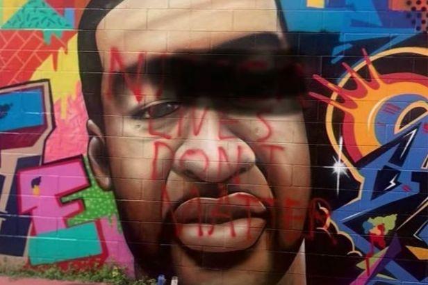 George Floyd Mural in Texas Vandalized with Racial Slur