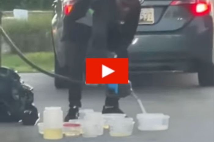 Man Caught Putting Gas in Tupperware Amidst Gas Shortage