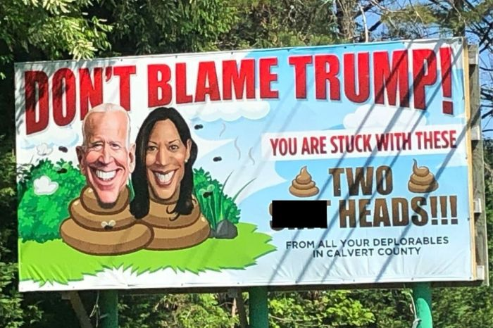 Controversial Billboard Attacks Joe Biden and Kamala Harris, Calls Them 'Sh**heads'