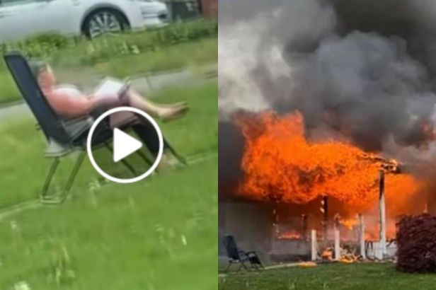 Woman Burns House Down, Happily Watches While Someone Is Stuck Inside